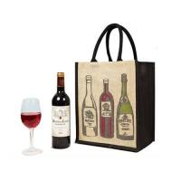 Buy cheap Portable Custom Tote Bags for Bottle Wine , Black Jute Shopping Bags Printed product