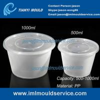 Quality 500ml/1000ml clear PP plastic disposable noodle bowl and soup bowl with lid for sale