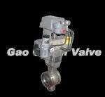 The pneumatic Model V piston type regulates the ball valve