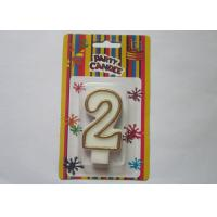China OEM Fancy Number 2 Birthday Cake Candle / Anniversary Party Wax Candles wholesale