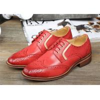 Buy cheap Sheepskin Upper Female Derby Shoes , Retro Red Womens Wingtip Brogues Shoes product