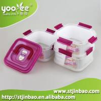 China Food Container Three layer(0.68L*3) square shape Airtight Storage Boxes with handle Green Color on sale