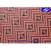 Buy cheap Jacquard Woven Carbon Aramid Fabric / Red Carbon Fiber Cloth With Rhombus Pattern product