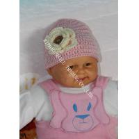 Buy cheap Pink Baby Girls Crochet Winter Hat With Flower Applique / Buttons product