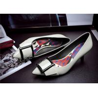 Quality Spring Comfortable Trendy Shoes Pointed Low Heels For Office Ladies With Square Buckle for sale