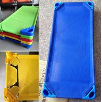 Buy cheap Preschool cheap Children Plastic Bed with Mesh Cloth Stackable product