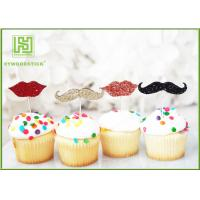 China Little Man Mustache Cupcake Toppers Cake Decorating Tools 150mm Length wholesale