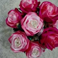 China Red color festival gift ribbon flowers artificial flowers DIY handmade single rose on sale