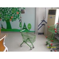 China 33 Liter Green Q195 Steel Kids Shopping Carts With Metal Flag Pole wholesale