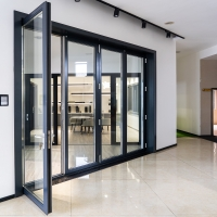 Buy cheap Two Way 6063 Aluminum Folding Door With Digital Handle Black Color Frame from wholesalers