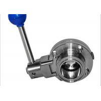 Buy cheap Full Port Sanitary Butterfly Valves , Manual Butterfly Valve 100% Hydraulic Pressure Tested product