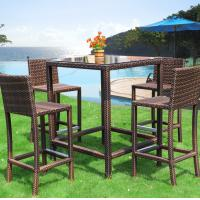 Buy cheap outdoor furniture patio rattan/wicker bistro high bar table with cushion glass table villa garden set product