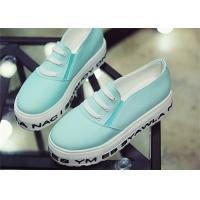 Buy cheap Light Blue Platform Canvas Sneakers Shoes Women'S Canvas Slip Ons With Elastic Band product