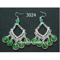 Buy cheap OEM  green lapis hoop dangle drop earrings with Rhodium plated product
