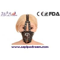 Buy cheap Spike head leather harness mask hood mouth gag cover slave bondage restraints bdsm fetish toys adults from wholesalers