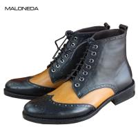 Buy cheap Bespoke good quality pure Handmade lace up goodyear boots genuine leather brogue from wholesalers