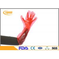 Buy cheap Red 90cm PE Plastic Disposable Veterinary Gloves Long Arm For Ainimal Handing product