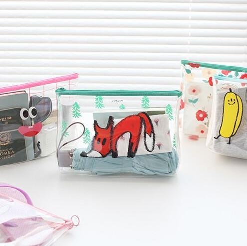 Quality Carton Printing PVC Zipper Bag , Transparent Travel Cosmetic Makeup Bag for sale
