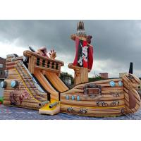 Buy cheap PVC Commercial Grade Giant Pirate Ship Inflatable Dry Slide With Climbing Ladder product