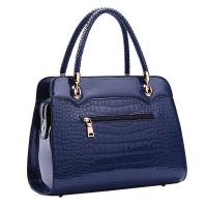 Buy cheap Navy Leather Shoulder Handbags , Waterproof PU Shoulder Tote Bags Zipper Closure product