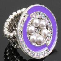 Buy cheap Alloy Ring with Flower Shape Accessory and Plastic Pearls, OEM Orders are Welcome product