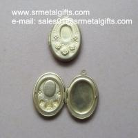 China Rosette copper photo locket, rose brass locket box compact for diy jewelry wholesale