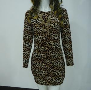 Buy cheap Stretchy Leopard Print Club Dress , Long Sleeve Velvet Bodycon Dress V Back product