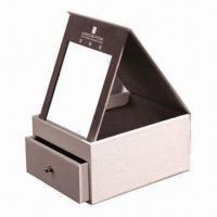 Buy cheap Cosmetic Gift Box, Made of PU Leather and Greyboard, with Mirror product