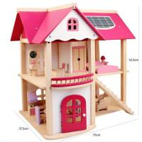 China Hot sale High quality two floor pink miniatures wooden toy furniture house for girls on sale
