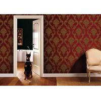 Buy cheap 0.53*10M Living Room PVC Removable Wall Coverings With Red And Gold Color , ISO SGS product