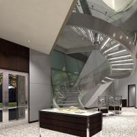 Buy cheap Prefabricated Stainless Steel Glass Stairs Curved Stair Manufacturers with Spigot Glass Railing product