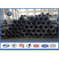Straight steel power pole Round Shape 10 - 550KV , metal utility poles AAA credit rating
