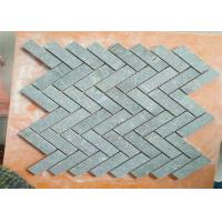 China Kitchen Natural Stone Floor Tiles , Marble Herringbone Mosaic Tile 1 X 3 Chip Size on sale
