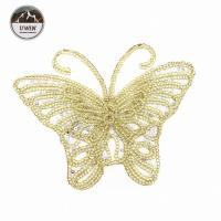 China Beautiful Golden Butterfly Iron On Patch , Sequin Washable Animal Iron On Patches on sale