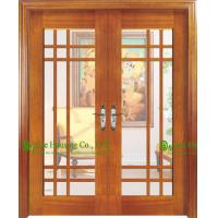 China Double Leaf Timber Veneer Wooden Door With Glass For Living Room/ Main Entrance Glass Door on sale