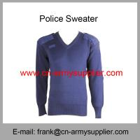 Wholesale Cheap China Army Navy Blue Military Sweater With Elbow Shoulder Patch