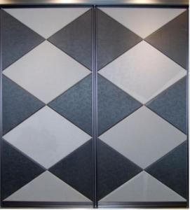 Buy cheap Luxury Leather Upholstered Wardrobe Doors, Decorative Internal Aluminum Sliding Door product