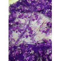 Buy cheap Luxury Guipure 3D Flower Lace Fabric For Apparel 135cm Width Purple product
