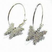 Buy cheap Fashionable Hoop Earrings, Decorated with CZ Stones, Nickel- and Lead-free product