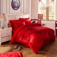 Buy cheap Red Bridal Polyester Bed Sheet Cover Sets With Embroidery Flower Queen Size product