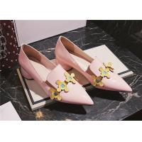 Buy cheap Patent Leather Comfortable Trendy Shoes Pointed Toe Mid Heels With Colourful Flowers product