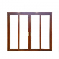 Buy cheap Non Thermal Break Aluminum Sliding Doors With 2 Track 1.6mm Thickness Wood Grain product