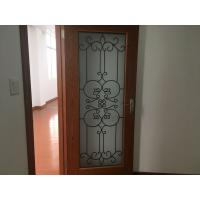 Buy cheap Oval Shaped Iron Glass Entry Doors , Antiseptic Wrought Iron Doors With Glass product