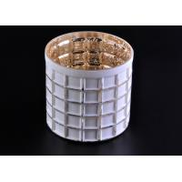 Buy cheap Mercury Electroplated White Sprayed Glass Candle Jars , Square Pattern product