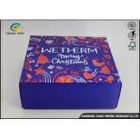 Buy cheap Luxury Christmas Printed Blue Cardboard Gift Boxes / Packaging Paper Box product