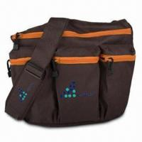 China Nappy Bags, Made of Dude Diaper Bag Brown with Orange 600D Polyester on sale