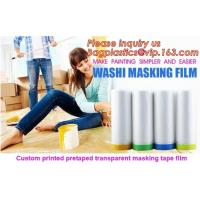 Buy cheap HDPE Masking Film,Indoor Application Pretaped Drop Cloths,masking film,pre-taped cover car painting protection film hous product