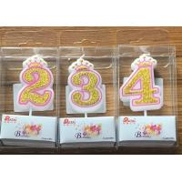 Buy cheap White Candle  Gold painting and Pink line with Cute Crown Number Birthday Candles 0-9 product