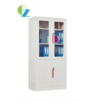 China 0.6mm Thickness Glass door storage cabinets steel locker filling cupboard on sale