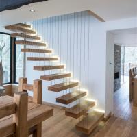 Buy cheap High quality wood stairs glass railing floating straight staircase product